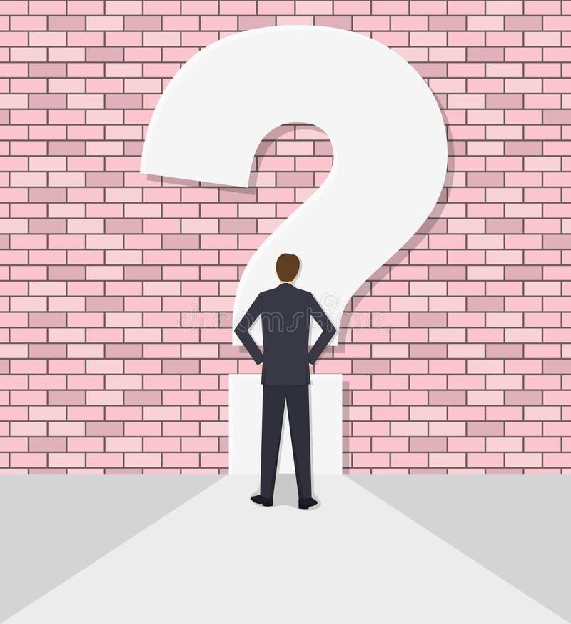 Geschäftsmann steht gegen eine Wand mit einem Fragezeichen still lizenzfreie abbildung