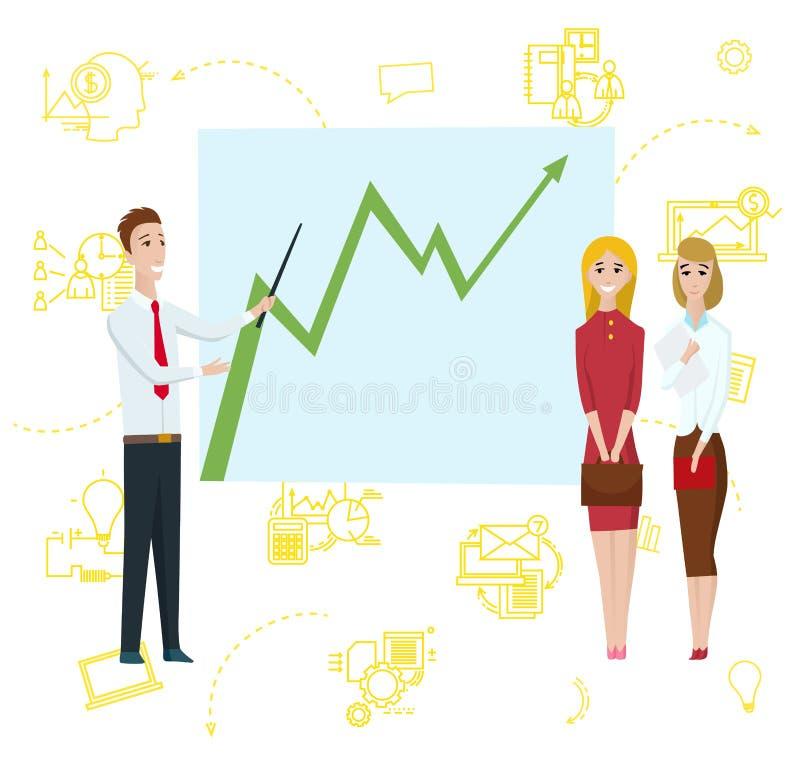 Geschäftsmann-Stellung, die zeigt, um Diagramm auf Whiteboard grafisch darzustellen Geschäftsfrau-Zeichentrickfilm-Figur zeigt St stock abbildung
