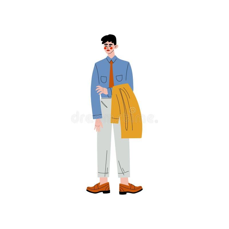 Geschäftsmann-Stellung und halten Jacke in seinen Händen, in Büroangestellten, in Unternehmer oder in Manager Character Vector lizenzfreie abbildung