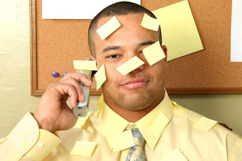 Geschäftsmann-Steuerknüppel auf Anmerkungen stockbilder