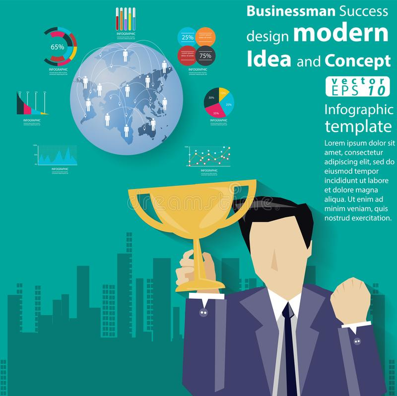 Geschäftsmann-Success-Design moderne Idee und Konzept Vector Illustration Infographic-Schablone mit Ikone vektor abbildung