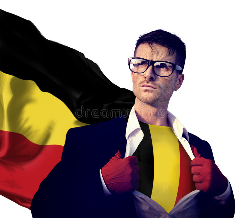 Geschäftsmann-Superhero Country Belgium-Flaggen-Kultur-Energie-Konzept lizenzfreies stockfoto