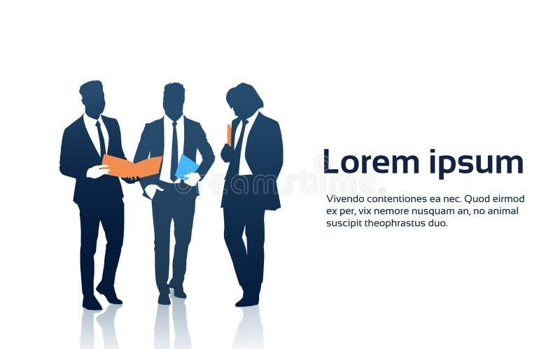 Geschäftsmann-Team Crowd Silhouette Businesspeople Group-Griff-Dokumenten-Ordner stock abbildung