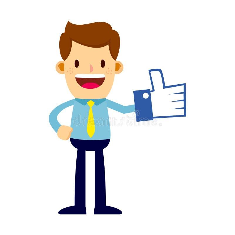 Geschäftsmann With Thumbs Up mögen Symbol-Schaum lizenzfreie abbildung