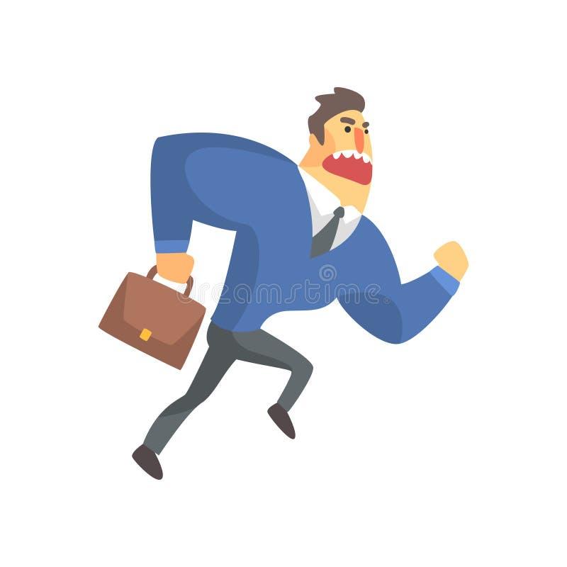 Geschäftsmann Top Manager In eine Klage, die spät, Büro Job Situation Illustration läuft lizenzfreie abbildung