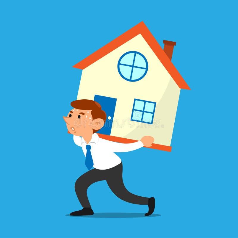 Geschäftsmann trägt einen Hausgeschäftseigentumsdarlehenskonzept-Zeichentrickfilm-Figur-Vektor stock abbildung