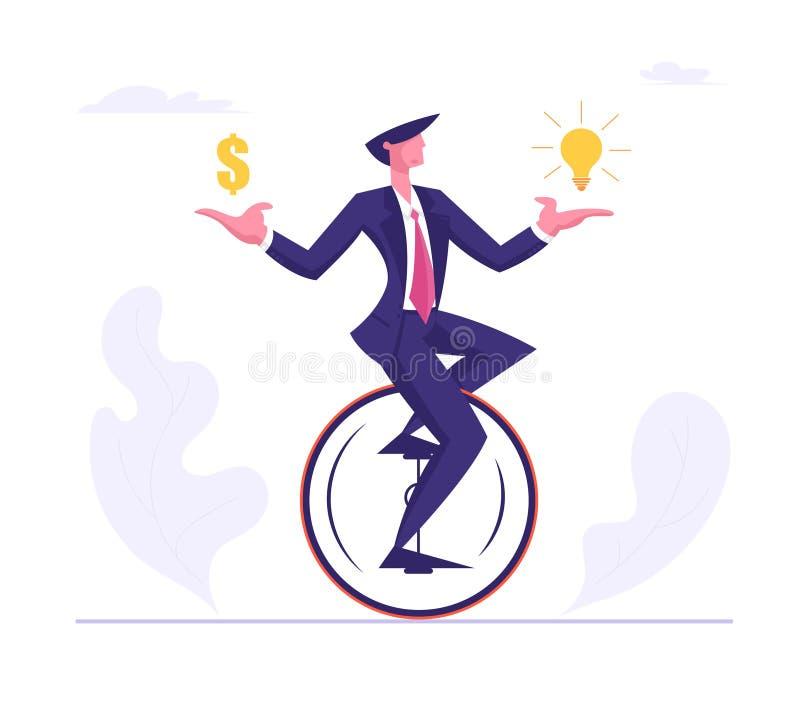Geschäftsmann-tragender Gesellschaftsanzug, der Monowheel mit Dollar und Glühlampe in den Händen reitet Geschäftsmann Character R stock abbildung