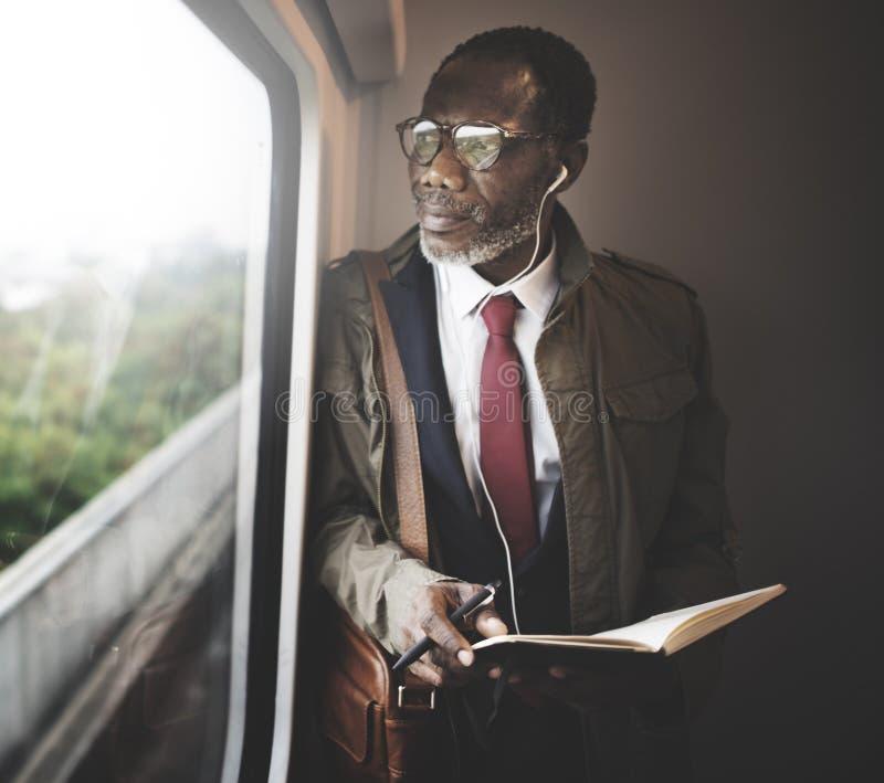 Geschäftsmann-Travel Passenger African-Abfall-Konzept lizenzfreie stockfotos