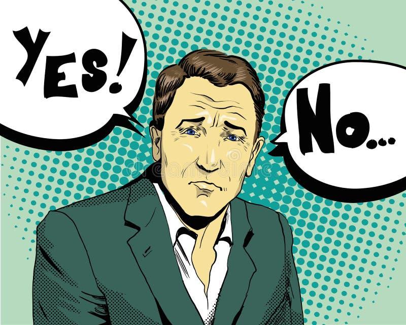 Geschäftsmann treffen Wahl ja oder Retro- komische Pop-Arten-Art-Vektorillustration vektor abbildung