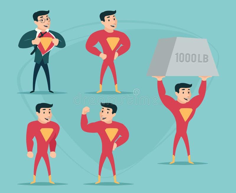 Geschäftsmann Turns im Superheld-Anzug unter Hemd-glücklicher lächelnder Ikone auf stilvoller Hintergrund-Retro- Karikatur-Design lizenzfreie abbildung