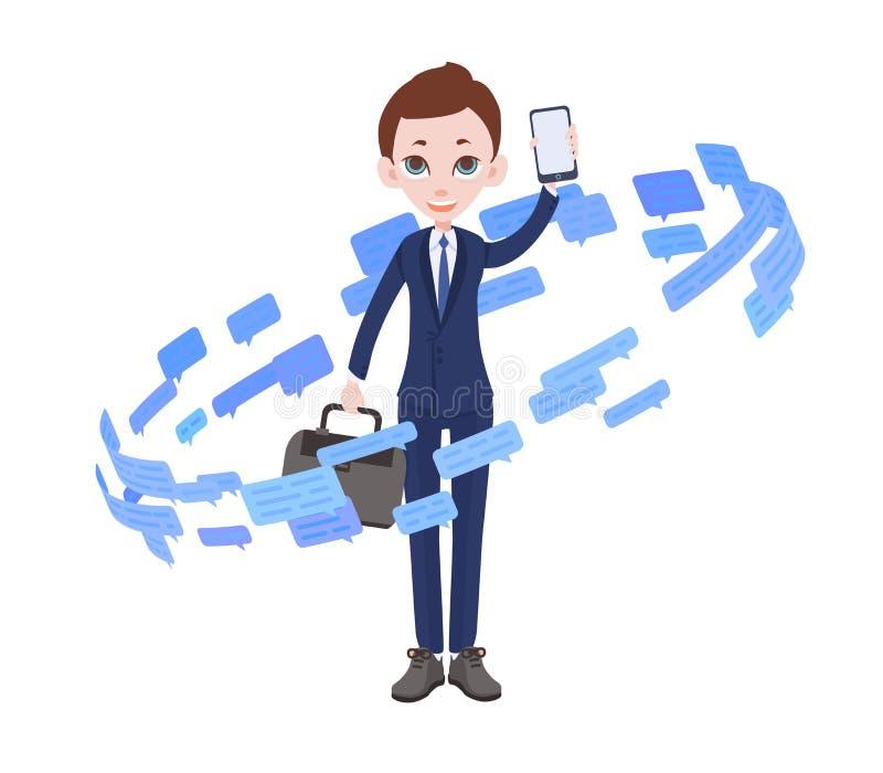 Geschäftsmann umgeben durch Textnachrichten und Spracheblasen Informationsstrom Flache Vektorillustration ein getrennt worden lizenzfreie abbildung