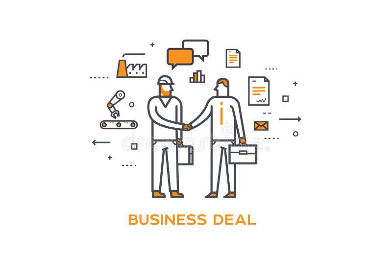 Geschäftsmann und Arbeitskraft, die Hände rütteln Zusammenarbeitsinteraktion Illustration Erfolg, Zusammenarbeit, Investitionen vektor abbildung
