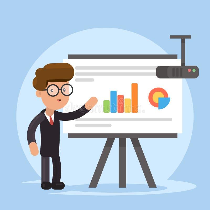 Geschäftsmann und Diagramme auf Projektorschirm Darstellungskonzept, Seminar, Training, Konferenz Geschäftsstrategie und stock abbildung