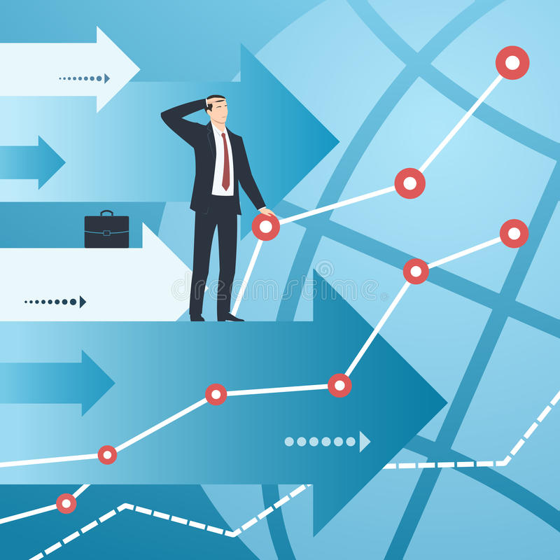 Geschäftsmann und Diagramme mit dem Wachsen von Finanzindikatoren vektor abbildung