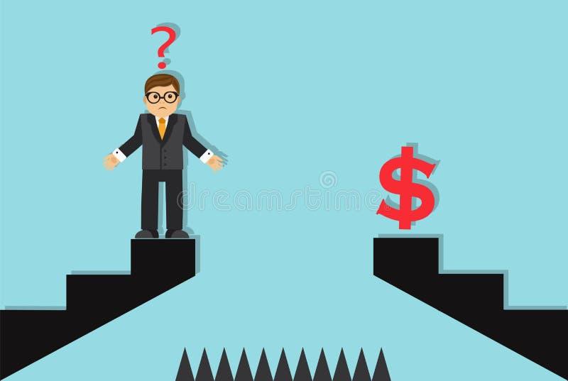Geschäftsmann und ein Hindernis zum Erfolg stock abbildung