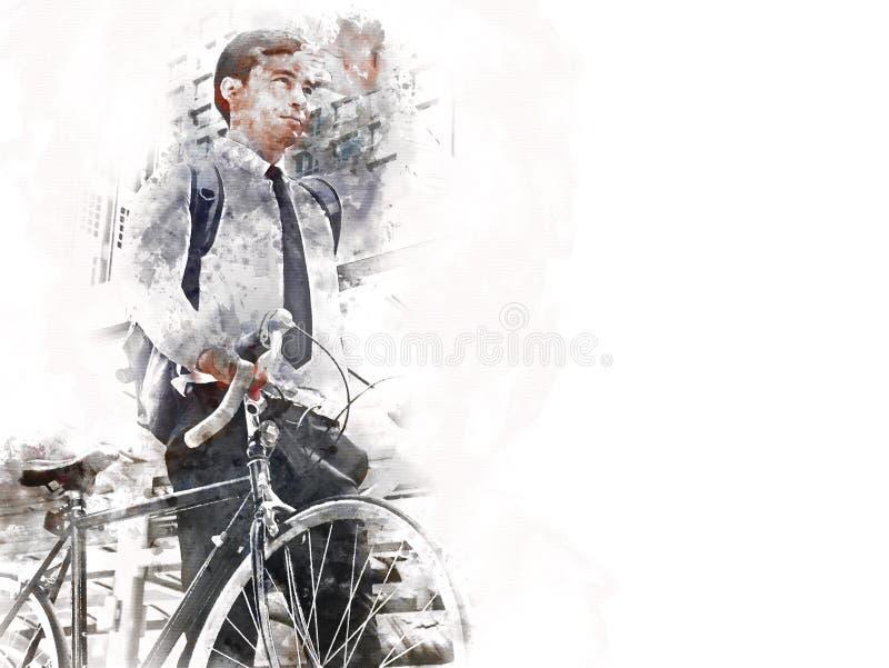 Geschäftsmann und Fahrrad, die auf Straße und errichtenden Hintergrund auf Aquarellmalerei gehen lizenzfreies stockbild
