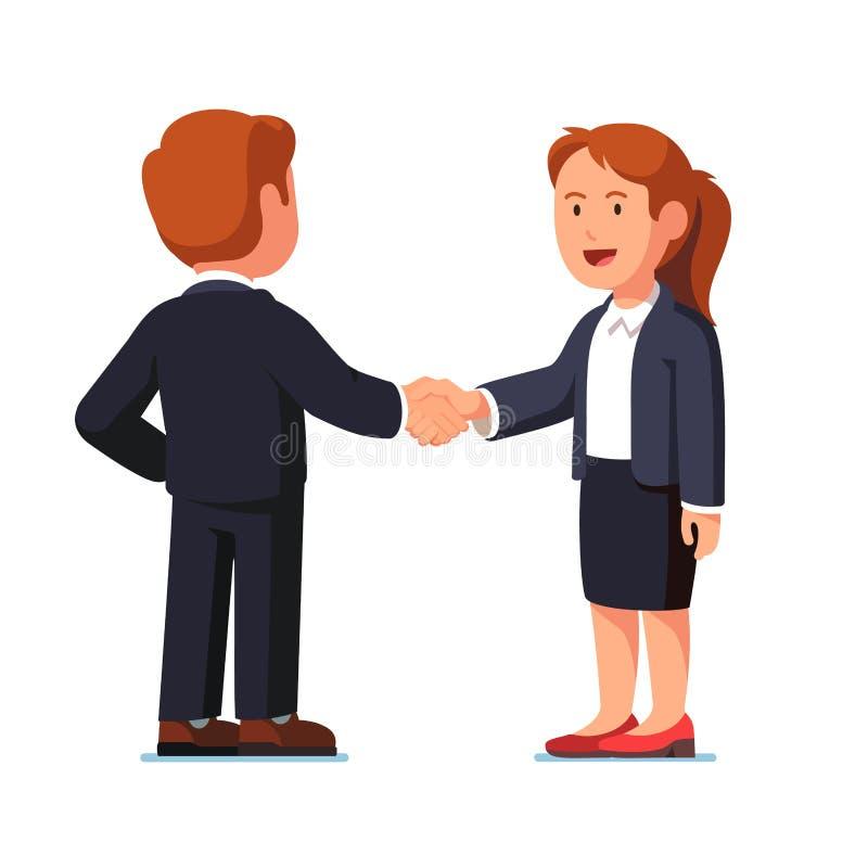 Geschäftsmann und Frau, die fest Hände rütteln stock abbildung