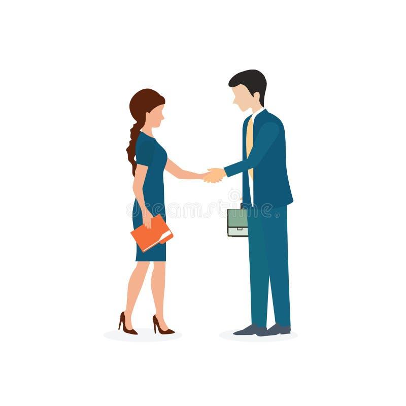 Geschäftsmann und Frau, die Hände rütteln lizenzfreie abbildung