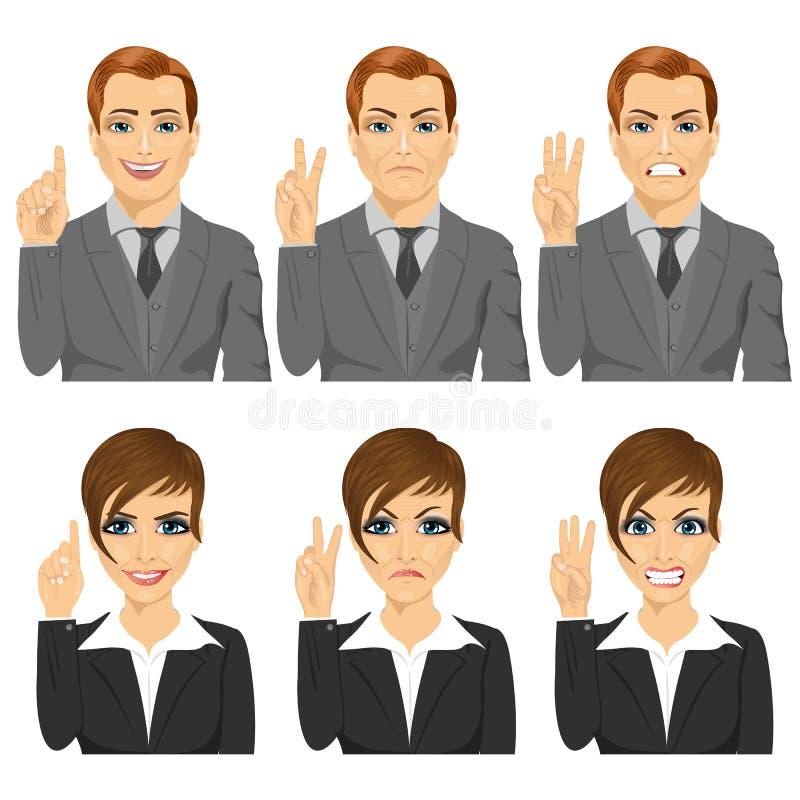 Geschäftsmann und Frau, die Zahlen von einer bis drei mit ihren Fingern mit verschiedenen Gesichtsausdrücken zählen lizenzfreie abbildung