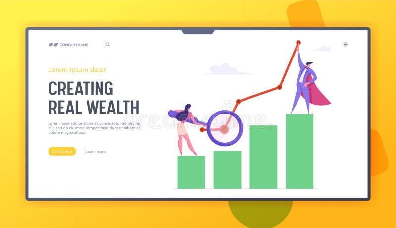Geschäftsmann und Frau mit Lupe, Statistik-Diagramm des finanziellen Gewinns Vermarktende Lösungs-Entwicklung, Diagramm stock abbildung