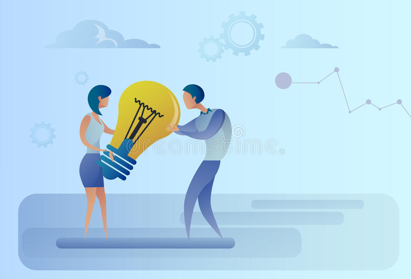 Geschäftsmann und Frau, welche die Glühlampe teilt neues kreatives Ideen-Konzept hält lizenzfreie abbildung