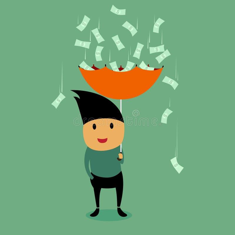 Geschäftsmann-und Geld-Regen. vektor abbildung