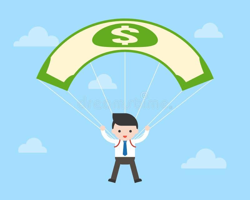 Geschäftsmann- und Gelddollarbanknoten-Fallschirmfliegen im Himmel, stock abbildung