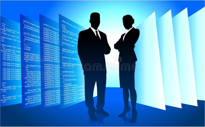 Geschäftsmann und Geschäftsfrau auf blauem Internet stock abbildung