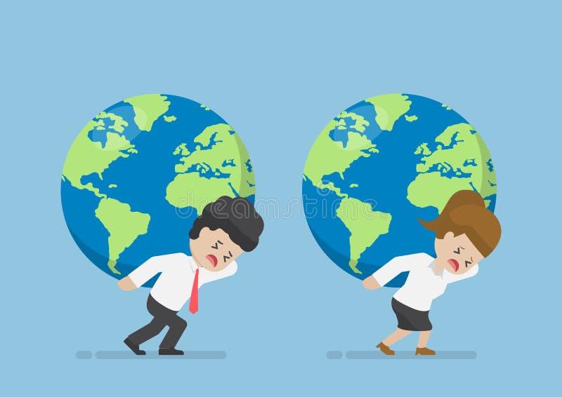 Geschäftsmann-und Geschäftsfrau-Carry World Globe On His-Rückseite vektor abbildung