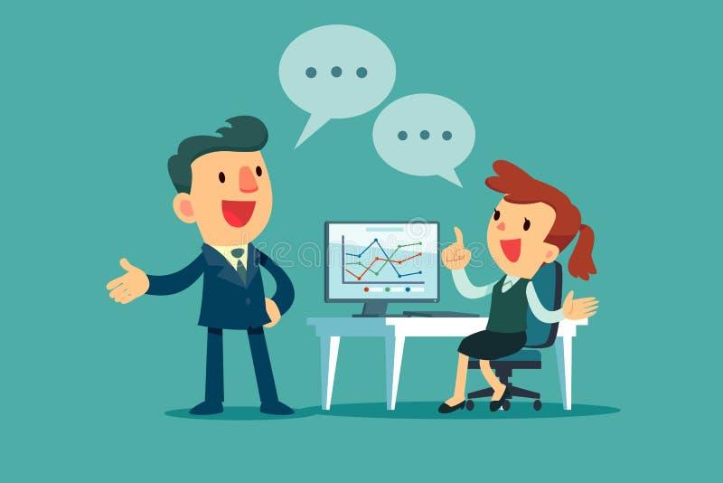 Geschäftsmann und Geschäftsfrau, die Geschäftsstrategie besprechen vektor abbildung