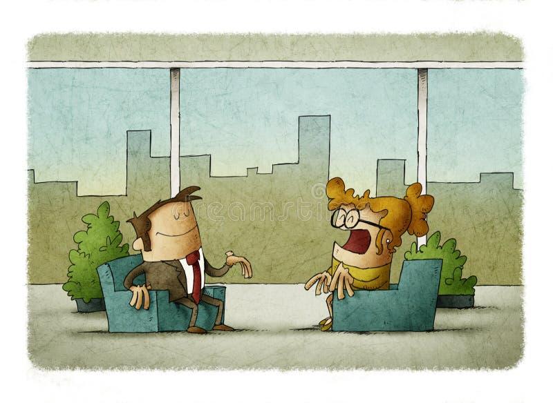 Geschäftsmann und Geschäftsfrau, die im Büro mit panoramischen Fenstern arbeitet vektor abbildung