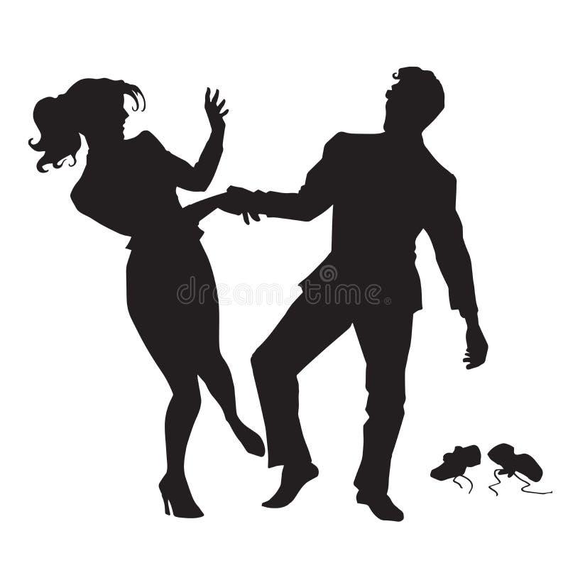 Geschäftsmann und Geschäftsfrau, die schwarze Schattenbildzahl tanzen stock abbildung