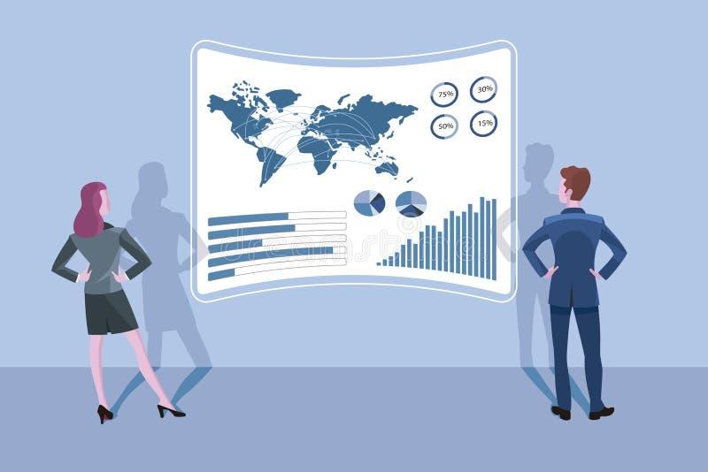 Geschäftsmann-und Geschäftsfrau und ein Schnittstellen-Schirm vektor abbildung