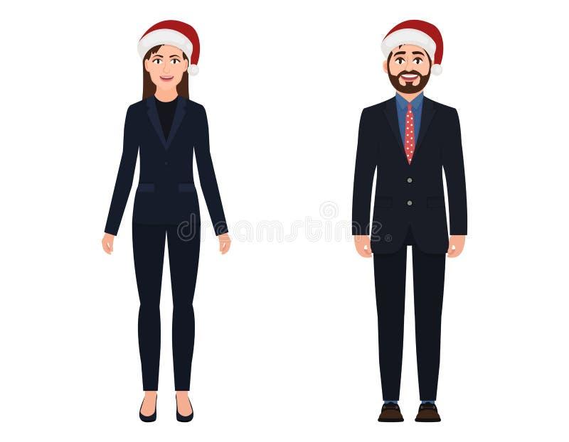 Geschäftsmann und Geschäftsfrau gekleidet in den Anzügen und in den Weihnachtshüten lizenzfreie abbildung