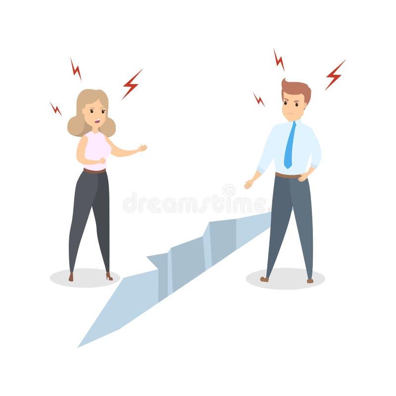 Geschäftsmann und Geschäftsfrau getrennt durch den Sprung stock abbildung