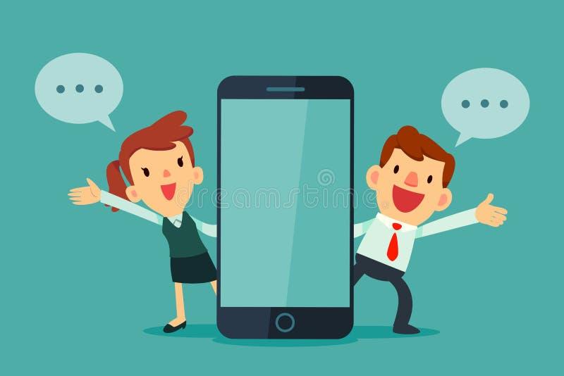 Geschäftsmann und Geschäftsfrauen, die neben intelligentem Telefon sprechen stock abbildung