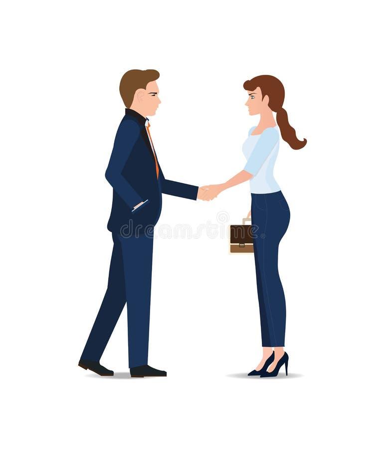 Geschäftsmann- und Geschäftsfrauhändedruck, der ein Abkommen macht vektor abbildung