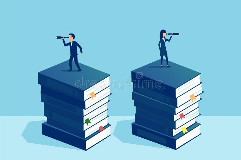 Geschäftsmann- und Geschäftsfraustellung auf Stapel von den Büchern, die Zukunft in der entgegengesetzten Richtung betrachten stock abbildung