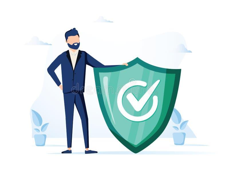 Geschäftsmann und Hinweiszeichen Informations-, FAQ-, Mitteilungs- und Anzeigenkonzept Fahne für Webseite Moderner Vektor stock abbildung