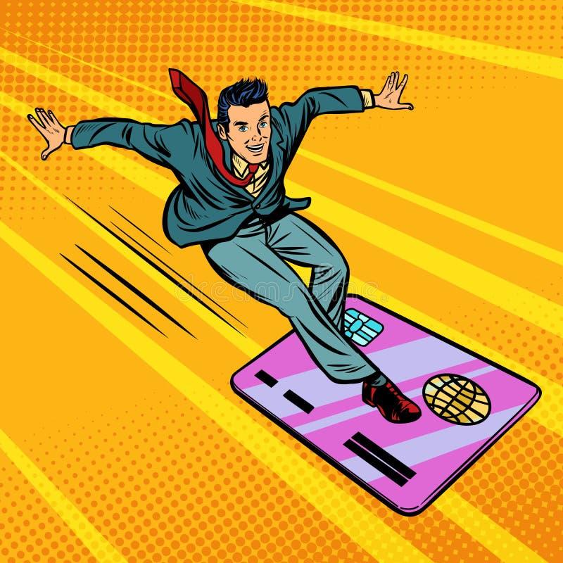 Geschäftsmann und Kreditkarte Snowboarding oder Surfen stock abbildung