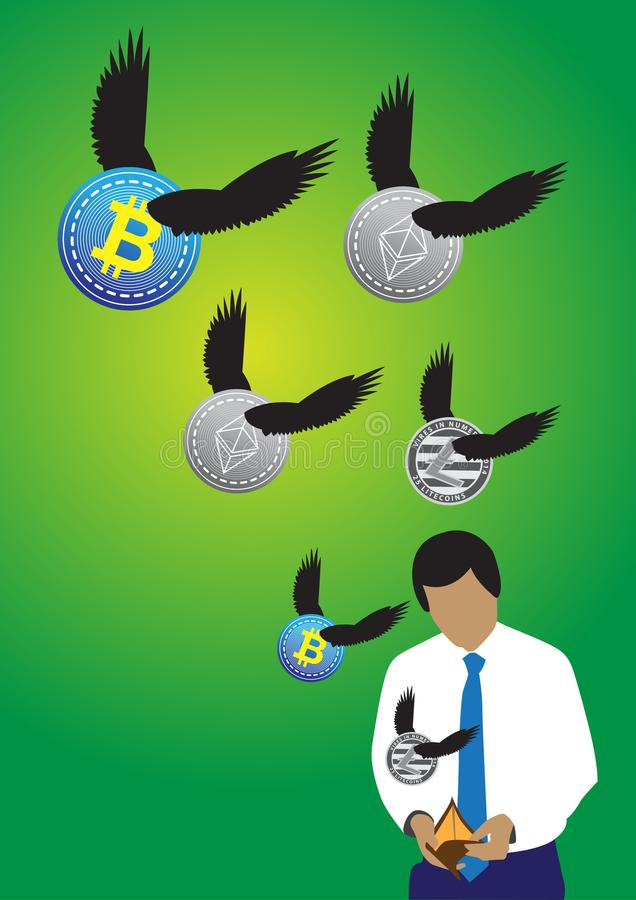 Geschäftsmann und leere Geldbörse stock abbildung