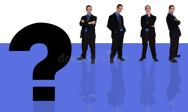 Geschäftsmann und question-6 lizenzfreie abbildung