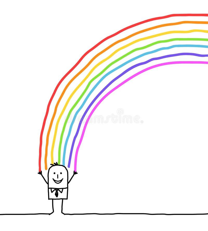 Geschäftsmann- und Regenbogenfarben stock abbildung