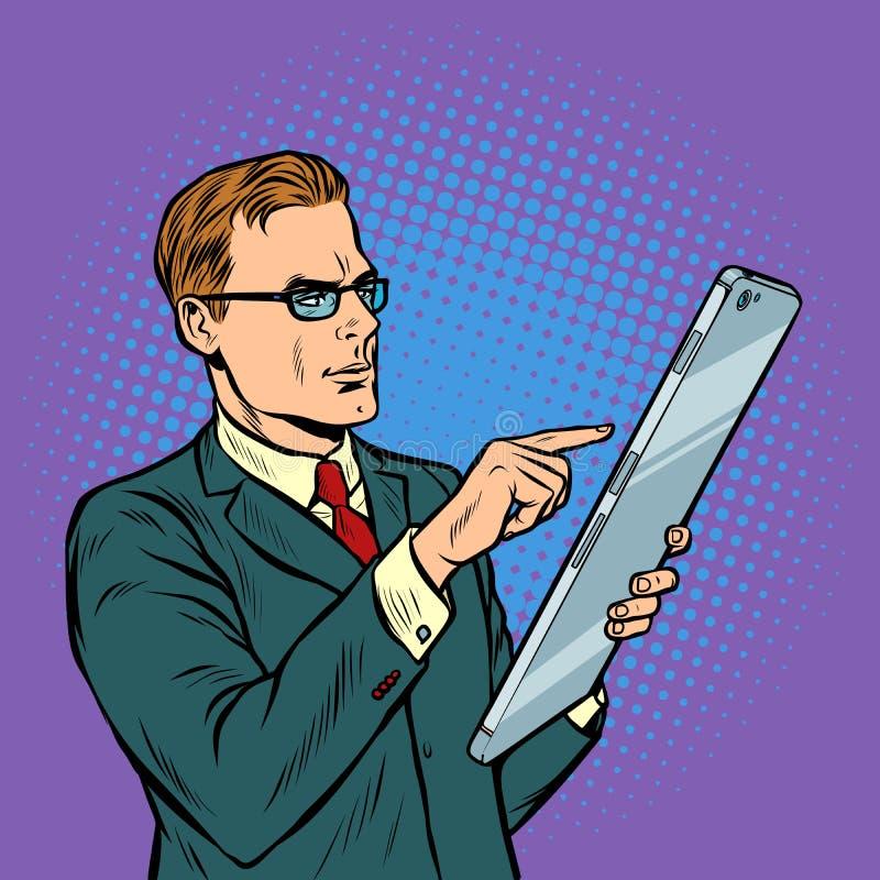 Geschäftsmann und Smartphone mit Großleinwand lizenzfreie abbildung