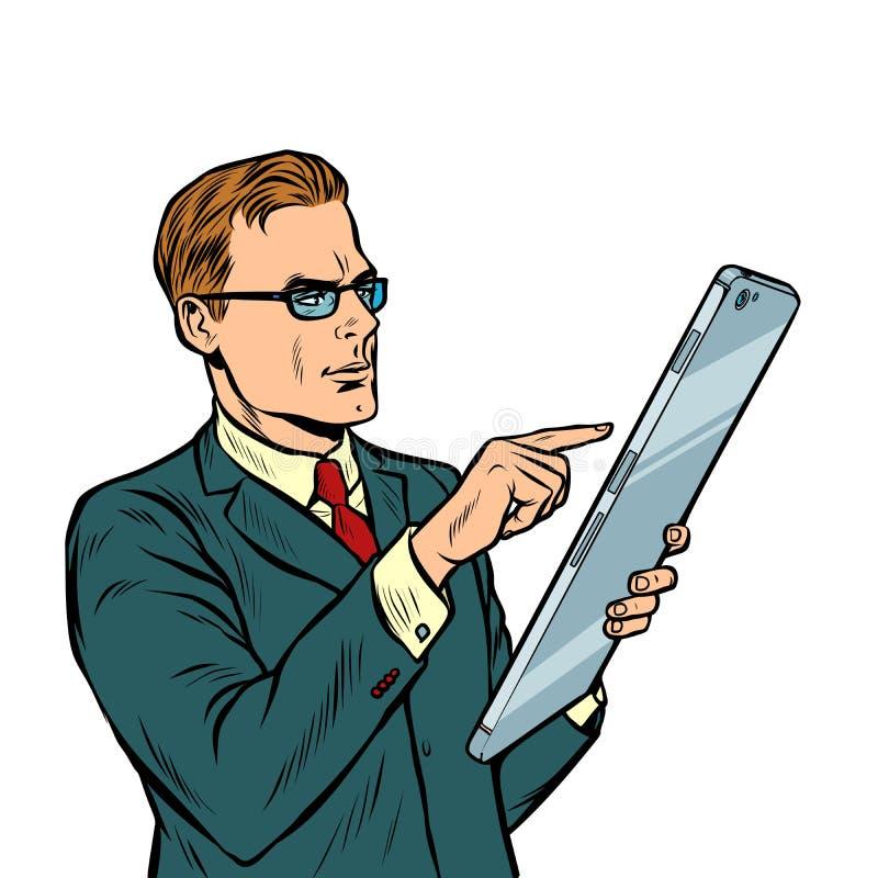Geschäftsmann und Smartphone mit Großleinwandisolat auf weißem Hintergrund vektor abbildung