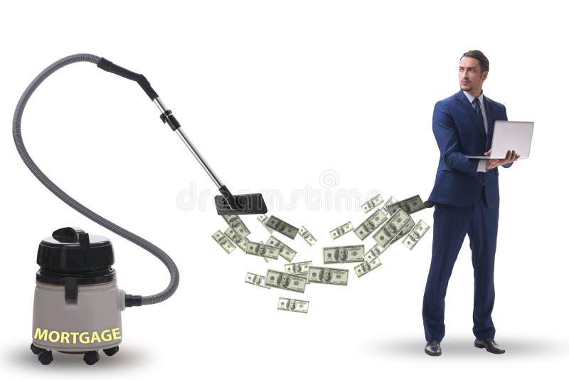 Geschäftsmann und Staubsauger, der Geld aus ihm heraus saugt stockfotos