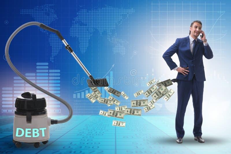 Geschäftsmann und Staubsauger, der Geld aus ihm heraus saugt lizenzfreie stockfotografie