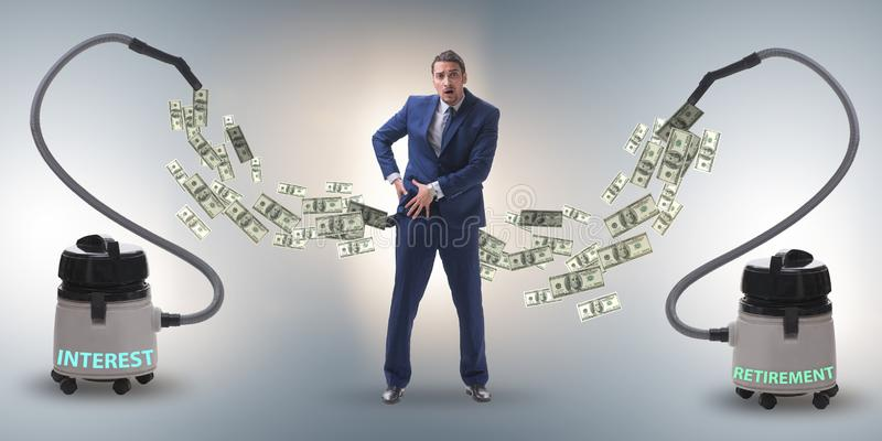 Geschäftsmann und Staubsauger, der Geld aus ihm heraus saugt lizenzfreie stockbilder