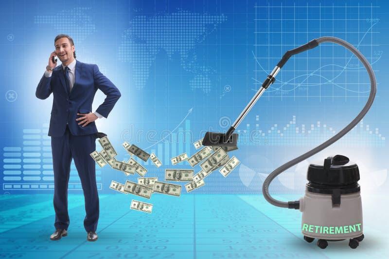Geschäftsmann und Staubsauger, der Geld aus ihm heraus saugt stockfotografie