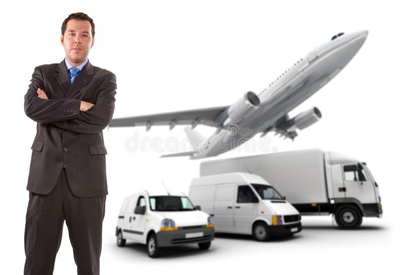 Geschäftsmann und Transportlogistik stockfoto